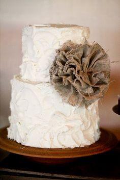 rustic cake... burlap & lace theme