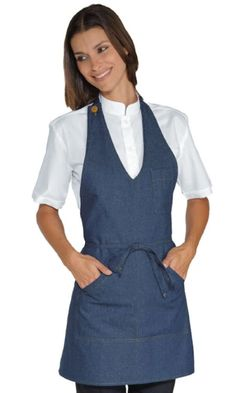 Jeans bistro apron - Buy Aprons Online - Aprons for coffee shops and restaurants Chef Dress, Apron Dress, Dress Up, Staff Uniforms, Work Uniforms, Sewing Hacks, Sewing Projects, Apron Designs, Sewing Aprons