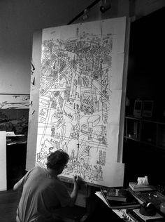 Javier Mariscal desenhando Barcelona
