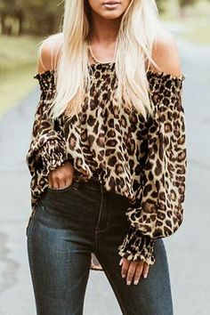 Sexy Off Shoulder Leopard Blouse Women Tops Autumn Summer Animal Print Casual Long Sleeve Loose Vintage Shirts Plus Size Blusas Leopard Print Jacket, Leopard Shirt, Winter Fashion Casual, Winter Style, Cardigan Fashion, Loose Tops, Off Shoulder Tops, Casual Tops, Casual Shirts