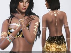 The Sims Resource: Metallic Tattoos by toksik • Sims 4 Downloads