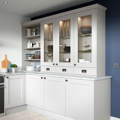 Allestree Kitchen Collection - First Impressions 90cm Range Cooker, 2018 Interior Trends, Open Shelving Units, Solid Wood Kitchens, Copper Handles, Shaker Doors, Grey Doors, Kitchen Gallery, Shaker Kitchen