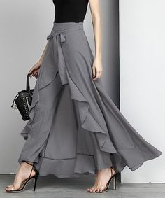 Reborn Collection Charcoal Chiffon High-Waist Ruffle Pants - Women office wear or wedding outfit Designer Wear, Designer Dresses, Hijab Fashion, Fashion Dresses, Fashion Fashion, Dress Skirt, Dress Up, Dress Pants, Ruffle Pants