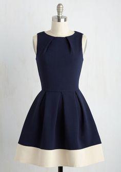 Dress in Navy Contrast