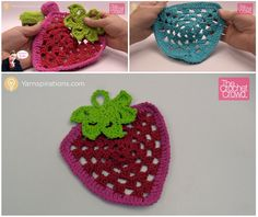 Crochet Strawberry Dishcloth + Tutorial