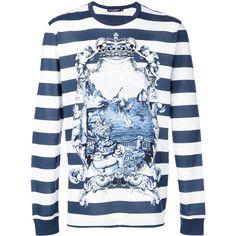 Dolce & Gabbana marina print long sleeve top ($390) ❤ liked on Polyvore featuring men's fashion, men's clothing, men's shirts, men's casual shirts, blue, mens blue shirt, mens cotton shirts, mens blue leopard print shirt, mens long sleeve casual shirts and mens long sleeve shirts