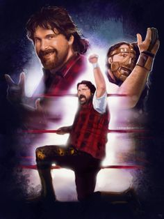 """n-a-blue-box: """" Mick Foley part of the ongoing wrestler series. and intuos Chris Jericho is next…. Mick Foley, Chris Jericho, Becky Lynch, Blue Box, Wwe, Superstar, Wrestling, Movie Posters, Fictional Characters"""