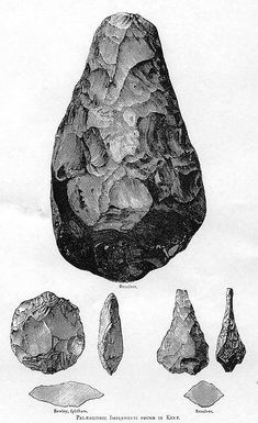 Acheulean hand axe. This was pretty much the extent of human technology for at least 1,500,000 years.