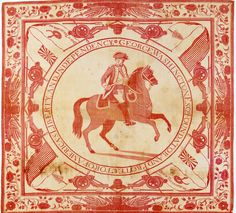 Kerchief depicting George Washington, linen, 30x30 in.,1776-1777, likely by John Hewson.  Gift of Mrs. J. Insley Blair.  NYHS Object Number 1952.63.