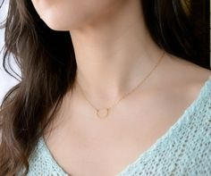 Eternity Circle Necklace 24K Gold Vermeil Best by Beazuness