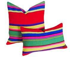 Bold, Colorful Striped Pillows, Decorative Throw Pillow, Repurposed  Blanket, Mexican Pillow,