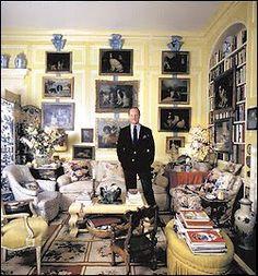 "The ""Prince of Chintz"", interior designer Mario Buatta in his Manhattan apartment in the 1980's. Buatta specialized in traditional English design and fabrics."