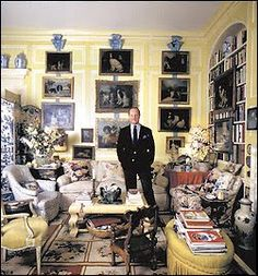 "The ""Prince of Chintz"" Mario Buatta in his Manhattan apartment in the 1980's"