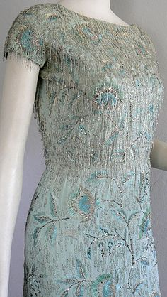 Jeanne Lanvin gown) completely covered in embroidery by L'Atelier Lesage 1960s Fashion, Timeless Fashion, Vintage Fashion, Jeanne Lanvin, Unique Dresses, 60s Dresses, Sheath Dresses, Vintage Gowns, Vintage Outfits
