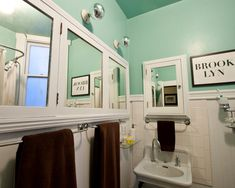 pretty color for bathroom! sea-glass green with white and brown