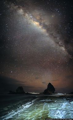 Papuma Beach, Indonesia -- the Milky Way will make appearances at nighttime, after colonies of bats explode from the caves at sunset. Places Around The World, Around The Worlds, Beautiful World, Beautiful Places, Foto Nature, Beach At Night, Sky Full Of Stars, Tornados, Paris