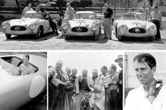Third Carrera Panamericana Mexico, 1952. Mercedes-Benz racing team, from the left: Hermann Lang, Erwin Grupp, Hans Klenk and Karl Klink in their Mercedes-Benz 300 SL Coupé (W 194), John Fitch and Eugen Geiger