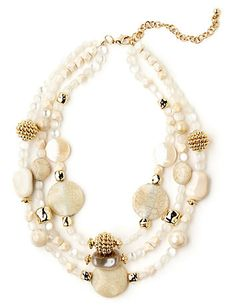 Make a statement with our layered-look, three strand necklace. Iridescent rounds mix with tan shell pieces, textured metallic accents and marbled beads to give you this irresistible look. Look for our Coastal Nuance Earrings to complete your look. Lobster claw closure with extender. Customized in size and scale for the plus size woman. For your comfort, all Catherines jewelry is free of lead and nickel. catherines.com