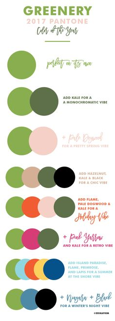 Pantone Greenery Color of the Year 2017 Combinations with hazelnut and rose pale dogwood