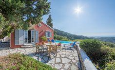 Villa with amazing sea view in Agios Nikitas Village. Island Life, Islands, Greece, Villa, Patio, Sea, Amazing, Outdoor Decor, Home