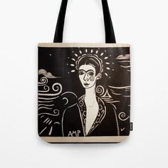 "Drawing of Frida by Anne Marie Price. Our quality crafted Tote Bags are hand sewn in America using durable, yet lightweight, poly poplin fabric. All seams and stress points are double stitched for durability. Available in 13"" x 13"", 16"" x 16"" and 18"" x 18"" variations, the tote bags are washable, feature original artwork on both sides and a sturdy 1"" wide cotton webbing strap for comfortably carrying over your shoulder. #Frida #totebag #buy #AnneMariePrice #FridaKahlo #awesome #unique #giftidea Ink Pen Art, Unique Bags, Poplin Fabric, Hand Sewn, Original Artwork, Stress, Reusable Tote Bags, America, Shoulder"