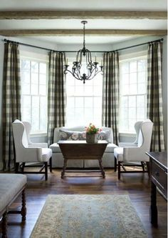 Browse bay window ideas images to bay window curtains, bay window treatments, bay window, bay window seat and bay window & window seat for your bay window, study or bay windows. Decor, Kitchen Sitting Areas, House Design, Interior, Family Room, Home, Bay Window, Interior Design, Gingham Curtains
