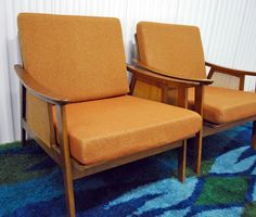 Danish chairs with cane side