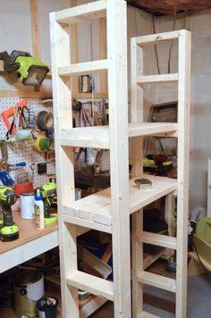 Paint Storage Shelf Made With 2x4s & 3 Tier Pine Shelf Unit - Pine Shelves with 3 Wooden Shelves ...