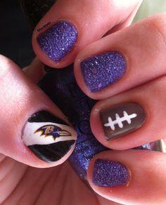 Miscellaneous Manicures: Baltimore Ravens Nails - Week 17 - Liquid Sand