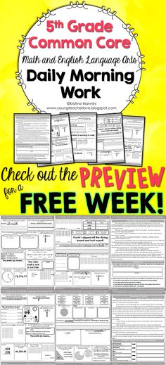 5th Grade Math and English Language Arts Daily Morning Work- Check out the FREE preview! 3 weeks of 4th grade review to start, with a total of 180 pages! Reading passages aligned to the Reading Literature and Reading Informational Standards, math riddles, language questions, vocabulary, and affix word study questions, and more! $