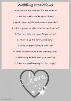 Wedding Predictions Hen Party Game - this is a fun and free hen party game which…