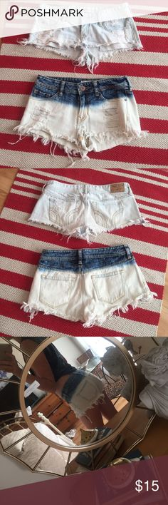 Size 3 Shorts Bundle Light wash destroyed / thrashed Hollister AND Bullhead brand short low rise shorts size 3 Bullhead Shorts Jean Shorts