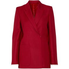 Acne Studios Deana Si Guitar embellished wool and silk-blend blazer (€3.000) ❤ liked on Polyvore featuring outerwear, jackets, blazers, red, double breasted wool blazer, wool blazer, double breasted blazer, red jacket and blazer jacket