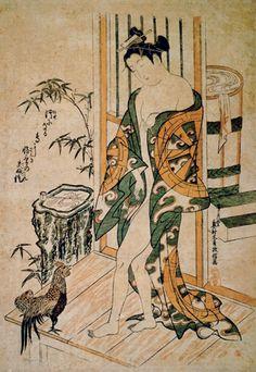 Okumura Masanobu, 'Beauty after the Bath and Cockerel', c. 1730