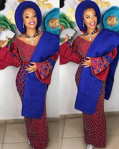 Beautiful Make up Aso oke Beads Traditional Wedding Attire, African Traditional Wedding, Traditional Dresses, Nigerian Dress, Nigerian Bride, African Fashion Ankara, African Inspired Fashion, Ethnic Fashion, African Prom Dresses