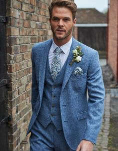 Light Blue Suit Wedding, Blue Tweed Wedding Suits, Grey Tweed Suit, Wedding Suit Hire, Mens Tweed Suit, Blue Suit Men, Tweed Suits, Grey Wedding Suits For Men, Wedding Tuxedos