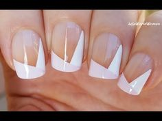 Geometric SIDE FRENCH MANICURE In Negative Space Nail Art Design