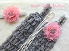 I am ordering this for Lucy! Gray and Vintage Pink Lace Petti Romper by HarperSophiaBoutique, $33.99