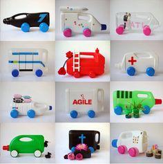 As idéias de Reciclagem Ecologicamente Correta são um Show! - Veja só estes Portas Lápis feito de Embalagens de Plastico Vazias. Não é genial?