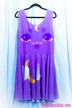 Miracle Kitten Printed Skater Dress (Moon Kitty, Clouds, Crescent Moon)  Fairy Kei Pastel Goth Kawaii