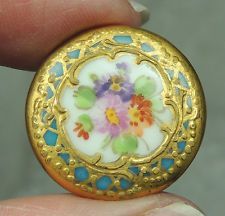 ANTIQUE PORCELAIN BUTTON ~ FLORAL DESIGN