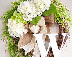White Hydrangea Monogram Grapevine Wreath with Burlap. Spring Wreath. Summer Wreath. Housewarming, Wedding, Mother's Day. Monogram Wreath.