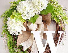 White Hydrangea Monogram Grapevine Wreath with Burlap. Spring Wreath. Summer Wreath. Housewarming, Wedding, Mother's Day. Monogram Wreath.