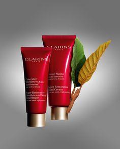 Clarins Multi-Intensive Crème Mains & Concentré Décolletè et Cou, un duo vegetale che contribuisce a migliorare la densità cutanea. Le rughe vengono sfumate e rallenta il rilassamento cutaneo. I due prodotti contengono un complesso antinquinamento esclusivo della Clarins che protegge la pelle dai danni dell'inquinamento.