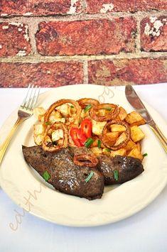 Sült máj krumplival és ropogós hagymával Steak, Pork, Beef, Kale Stir Fry, Meat, Steaks, Pork Chops