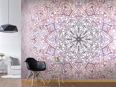 murando Photo Wallpaper cm Non-Woven Premium Art Print Fleece Wall Mural Decoration Poster Picture Design Modern Flower Floral Nature Abstract Mandala Oriental Poster Pictures, Living Room Colors, Photo Wallpaper, Picture Design, Mandala Art, Wall Murals, Modern Design, Thing 1, House Design