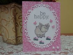 Smiling piggy / butterfly birthday card by LuvinItCREATIONS on Etsy