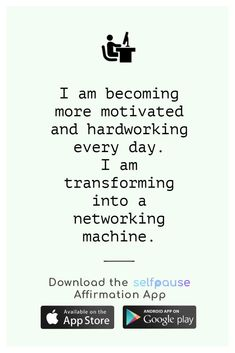 A simple way to choose, listen to and create positive affirmation all in one place. Get the Selfpause app to listen to thousands of affirmations and record your own. #careeraffirmation #jobaffirmation #dreamjob #workaffirmation