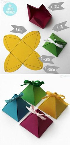 Liangtu Stereoscopic Handmade DIY Origami Paper Pyramid Various Color Gift Box Is Very Simple For Cookies