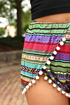 Tribal Striped Pom Pom Shorts
